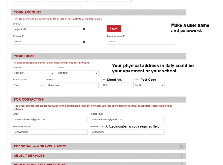 filling in the cartafreccia form