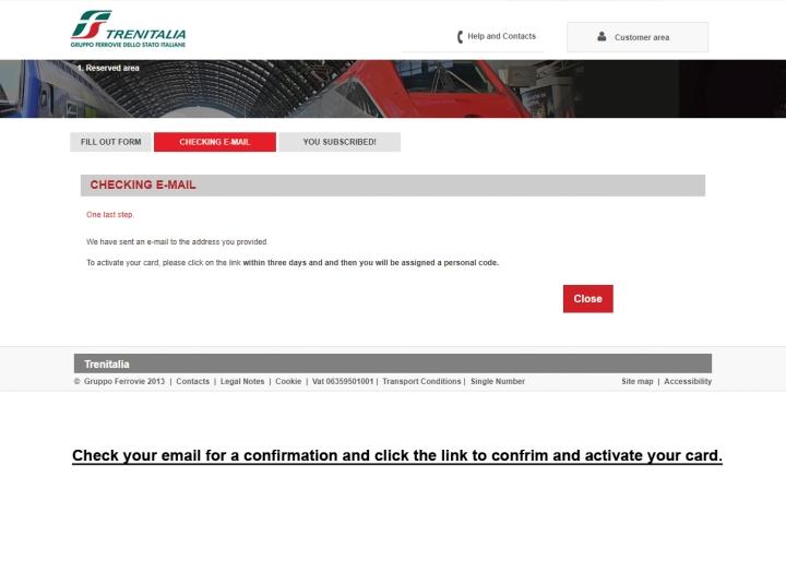 CartaFreccia confirmation page